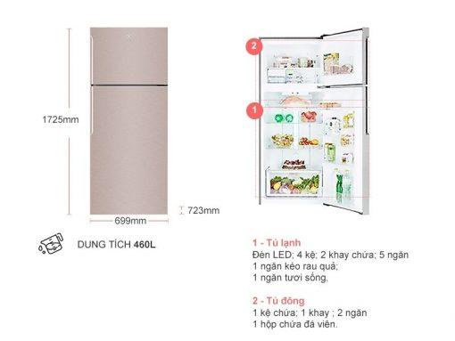 Tu Lanh Electrolux 460 Lit Etb4600b G